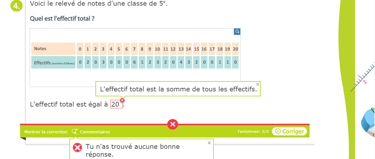 Exercice interactif : maths 5e